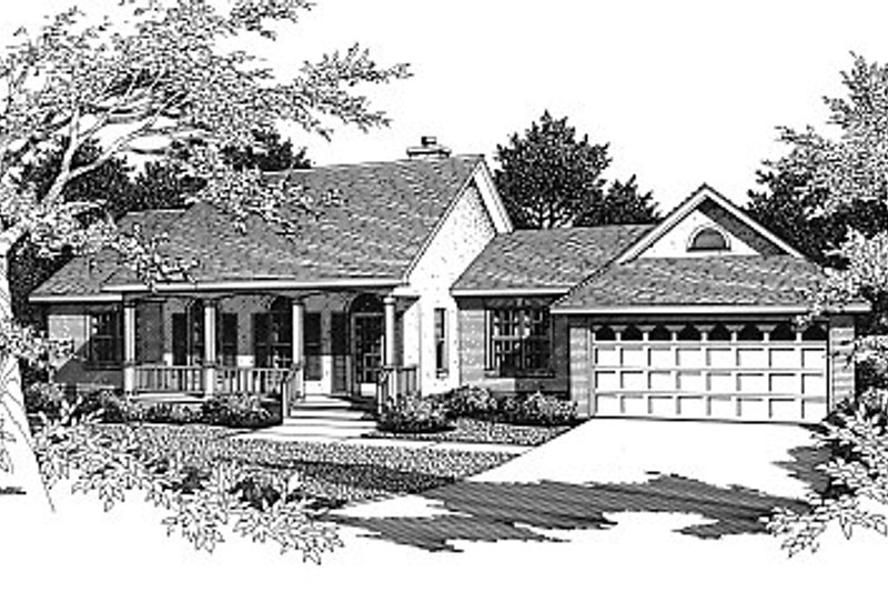 European Exterior - Front Elevation Plan #14-127
