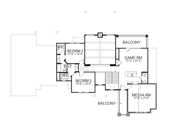 Craftsman Floor Plan - Upper Floor Plan #80-205