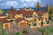 Mediterranean Style House Plan - 6 Beds 8 Baths 6904 Sq/Ft Plan #420-195 Exterior - Front Elevation