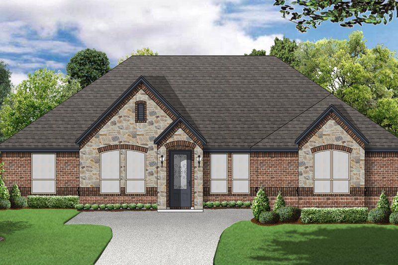 European Exterior - Front Elevation Plan #84-595