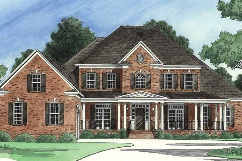 Architectural House Design - Colonial Exterior - Front Elevation Plan #1054-12