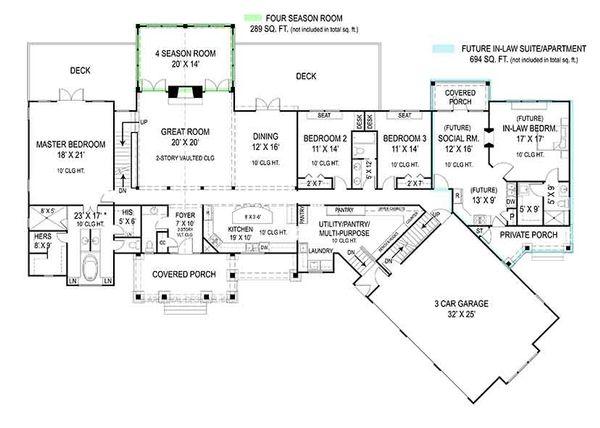 Craftsman Floor Plan - Main Floor Plan Plan #119-424