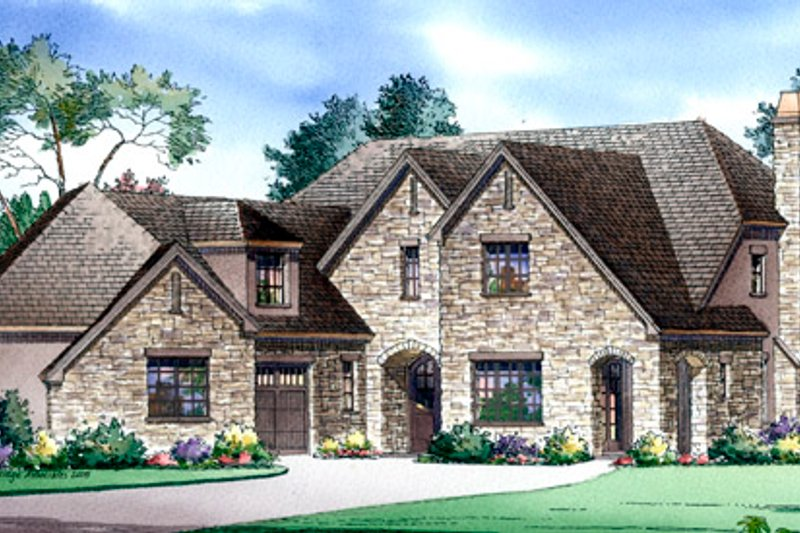 Traditional Style House Plan - 4 Beds 3.5 Baths 4898 Sq/Ft Plan #490-13 Exterior - Front Elevation