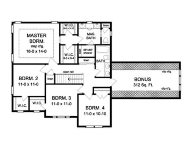 Colonial Floor Plan - Upper Floor Plan Plan #1010-56