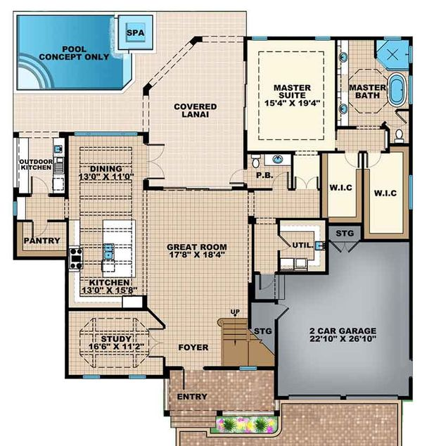 Mediterranean Floor Plan - Main Floor Plan Plan #1017-159