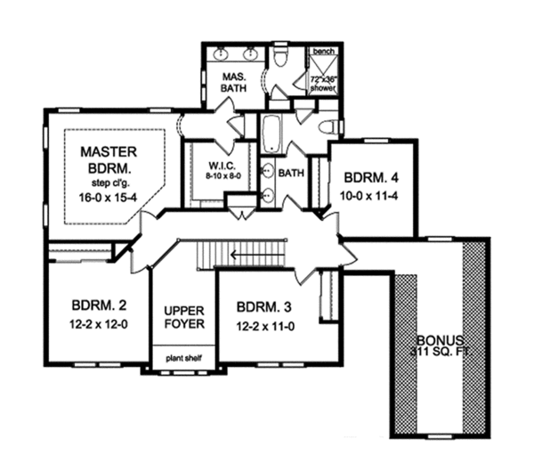 Traditional Floor Plan - Upper Floor Plan Plan #1010-132