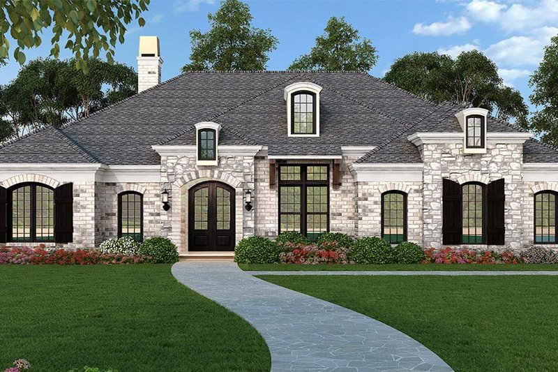 Ranch Style House Plan - 3 Beds 3.5 Baths 2403 Sq/Ft Plan #119-435 Exterior - Front Elevation