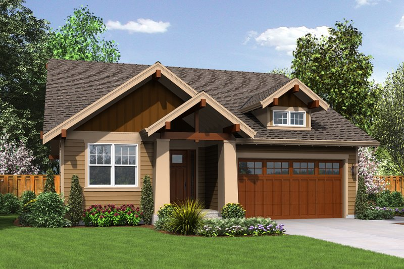 Craftsman Style House Plan - 3 Beds 2 Baths 1529 Sq/Ft Plan #48-598 Exterior - Front Elevation