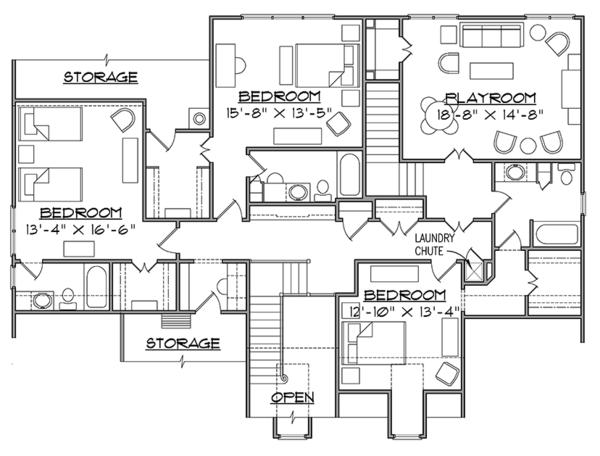 Traditional Floor Plan - Upper Floor Plan Plan #1054-20