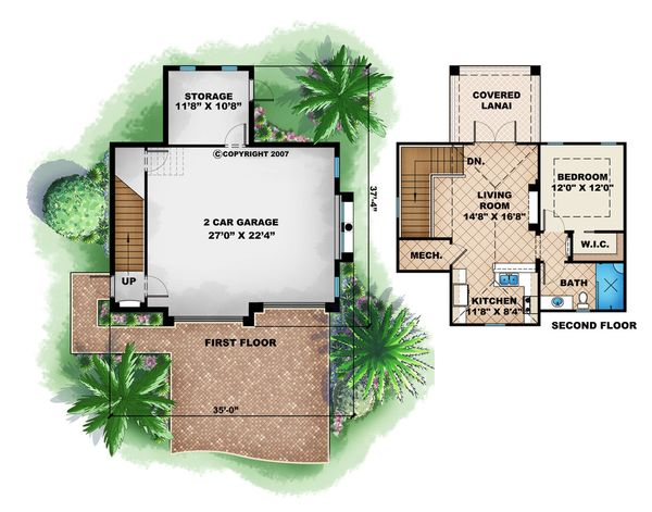 Mediterranean Floor Plan - Main Floor Plan Plan #27-535