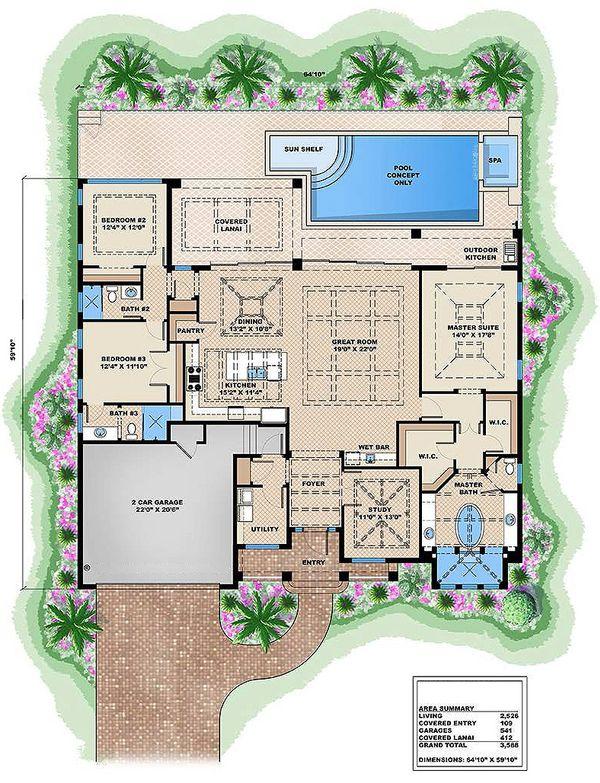 Home Plan - European style house plan, main level floor plan
