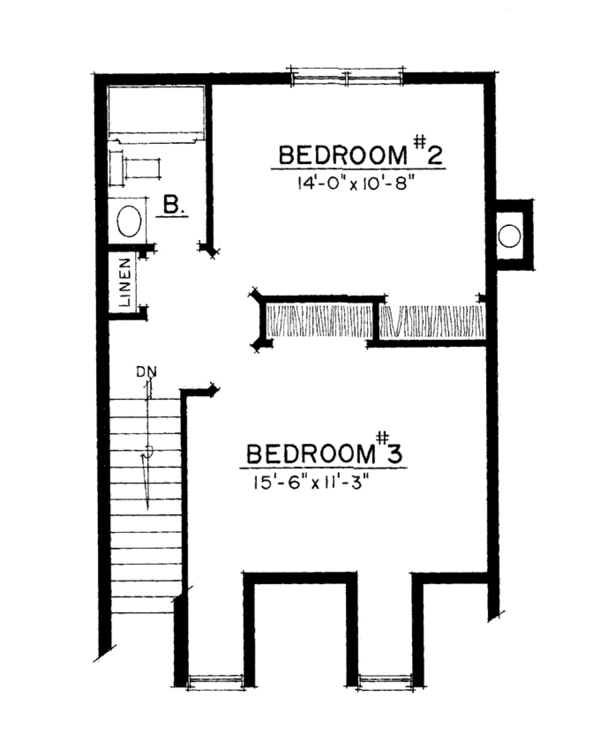 Colonial Floor Plan - Upper Floor Plan Plan #1016-102