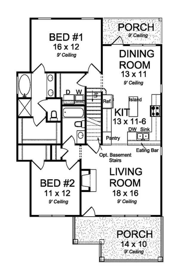 Traditional Floor Plan - Main Floor Plan Plan #513-2161