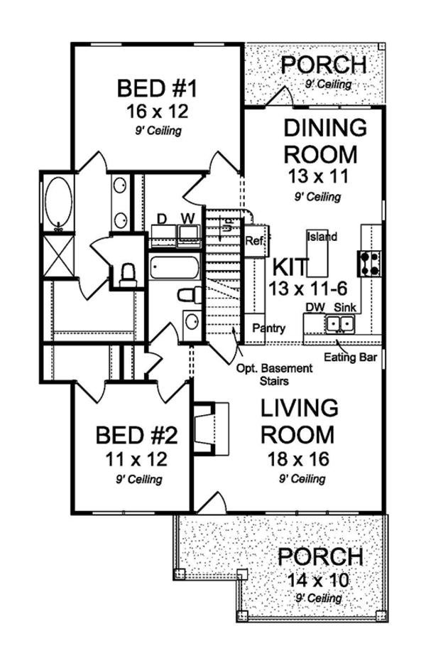 Traditional Floor Plan - Main Floor Plan Plan #513-2161