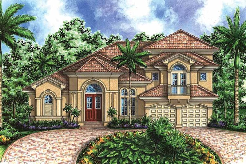 Mediterranean Exterior - Front Elevation Plan #1017-34 - Houseplans.com