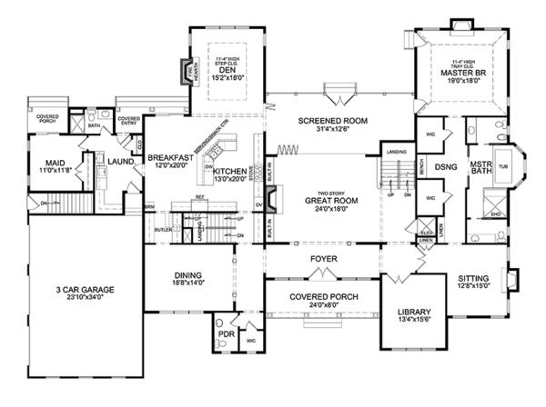 Dream House Plan - Traditional Floor Plan - Main Floor Plan #314-295
