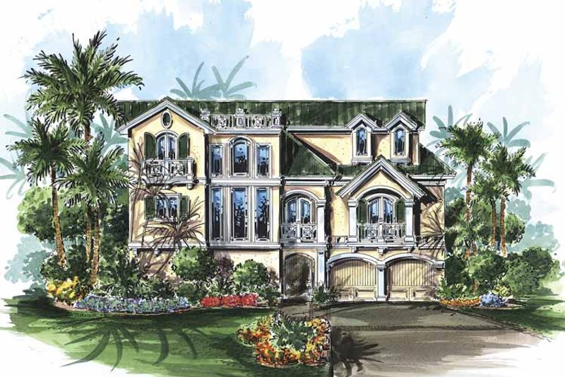 Mediterranean Exterior - Front Elevation Plan #1017-97