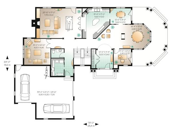 Country Floor Plan - Main Floor Plan Plan #23-414