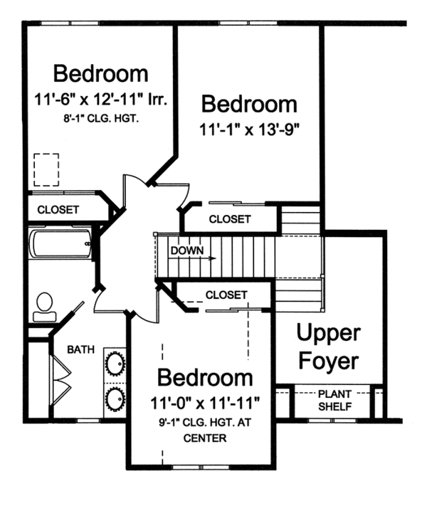 Traditional Floor Plan - Upper Floor Plan Plan #46-850