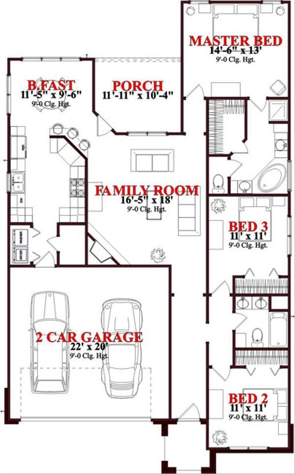 Traditional Floor Plan - Main Floor Plan Plan #63-238