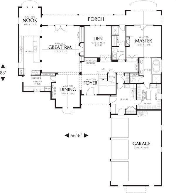 European Floor Plan - Main Floor Plan Plan #48-614