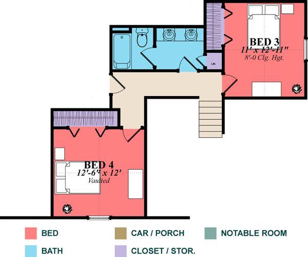 Country Floor Plan - Upper Floor Plan Plan #63-271