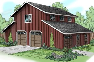 barn garage with stalls and/or garage below and large room above.