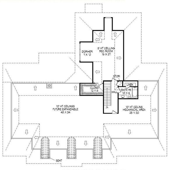 European Floor Plan - Upper Floor Plan Plan #932-28