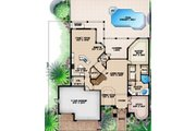 Mediterranean Style House Plan - 4 Beds 4.5 Baths 4218 Sq/Ft Plan #27-425 Floor Plan - Main Floor Plan