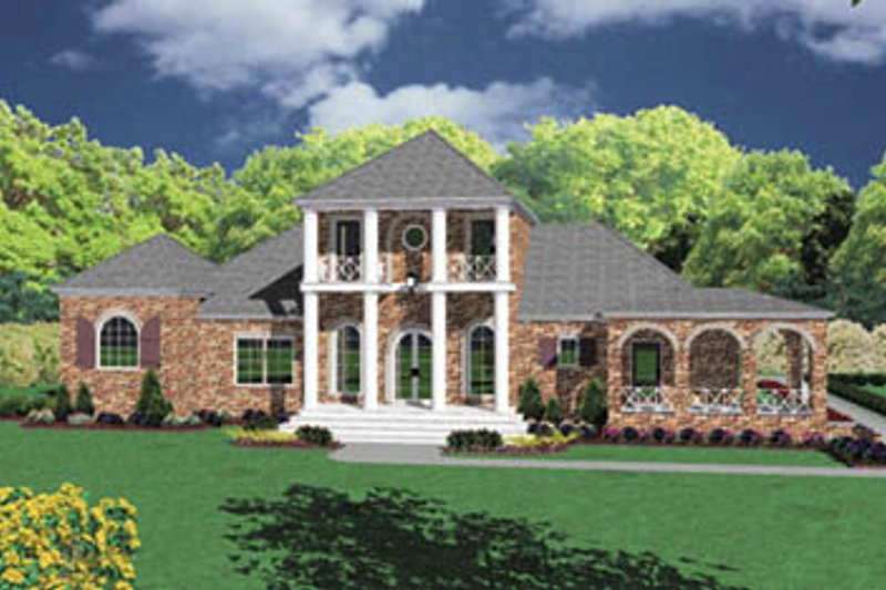 European Style House Plan - 4 Beds 3 Baths 3731 Sq/Ft Plan #36-242 Exterior - Front Elevation
