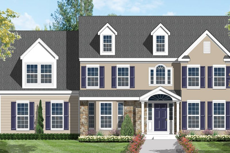 Colonial Exterior - Front Elevation Plan #1053-10