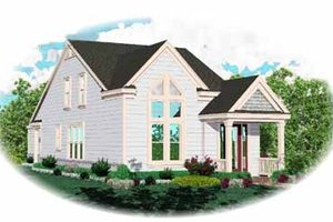 Southern Exterior - Front Elevation Plan #81-136