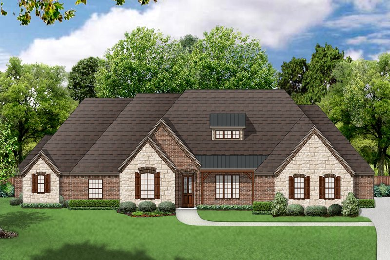 European Exterior - Front Elevation Plan #84-618 - Houseplans.com