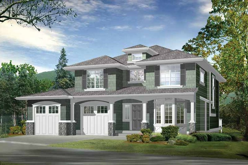 Prairie Exterior - Front Elevation Plan #132-262 - Houseplans.com