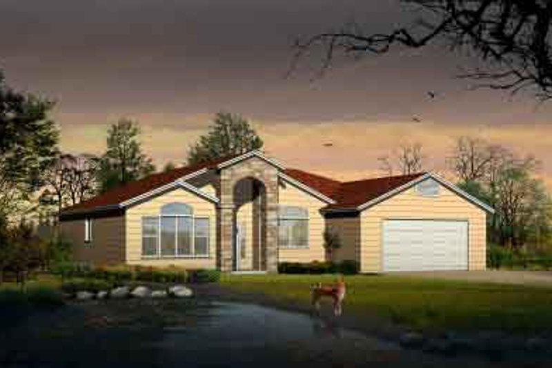 Adobe / Southwestern Style House Plan - 3 Beds 2 Baths 1582 Sq/Ft Plan #1-1126 Exterior - Front Elevation