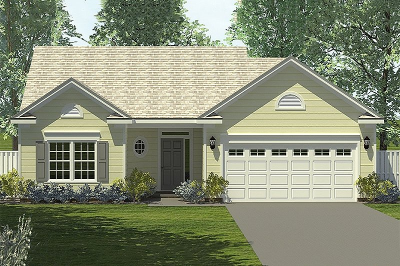 Traditional Style House Plan - 3 Beds 2 Baths 1204 Sq/Ft Plan #453-62 Exterior - Front Elevation