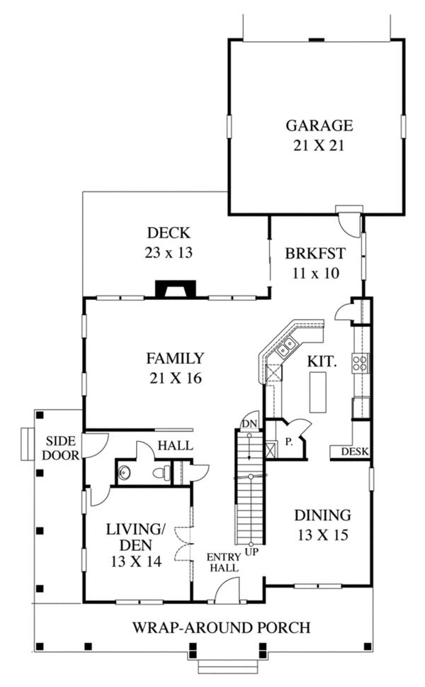 Traditional Floor Plan - Main Floor Plan Plan #1053-53