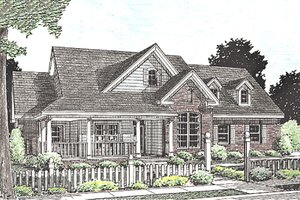 Country Exterior - Front Elevation Plan #20-2037