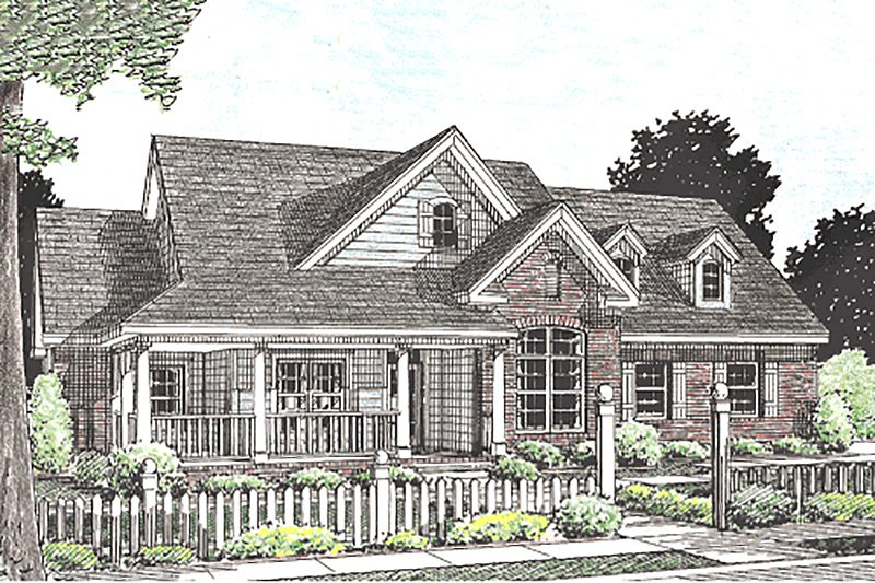 Country Style House Plan - 3 Beds 2 Baths 1995 Sq/Ft Plan #20-2037 Exterior - Front Elevation