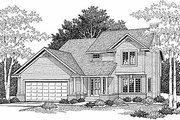 Traditional Style House Plan - 3 Beds 2.5 Baths 1552 Sq/Ft Plan #70-147 Exterior - Front Elevation