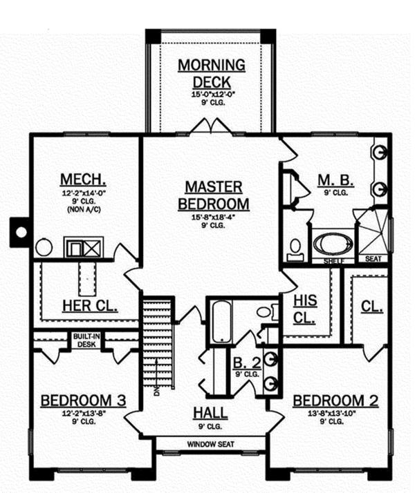 Craftsman Floor Plan - Upper Floor Plan Plan #1058-79