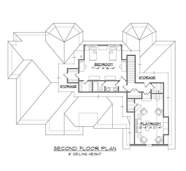 European Floor Plan - Upper Floor Plan #1054-54