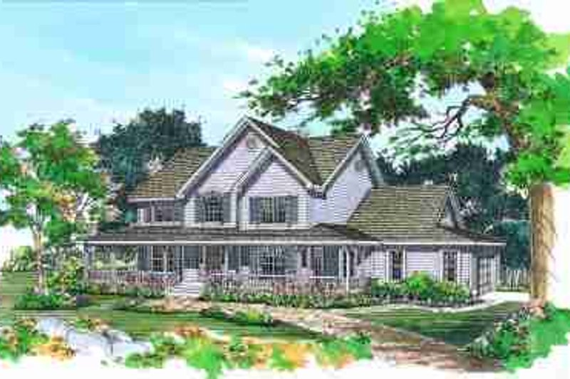 House Blueprint - Country Exterior - Front Elevation Plan #72-334