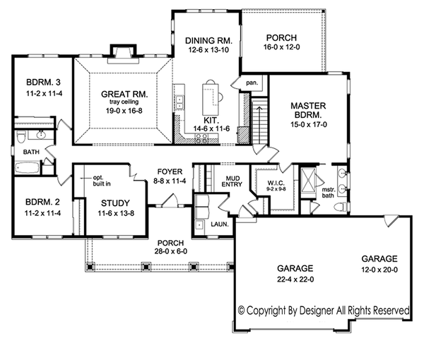 Ranch Floor Plan - Main Floor Plan Plan #1010-193