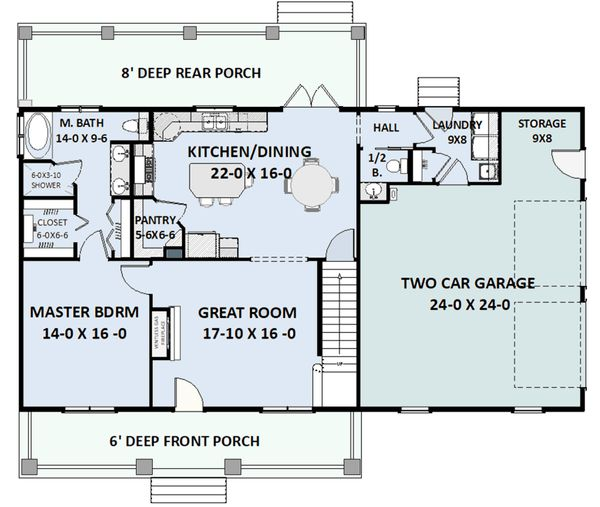 Country Floor Plan - Main Floor Plan Plan #44-197