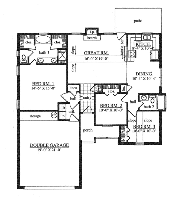 Country Floor Plan - Main Floor Plan Plan #42-720