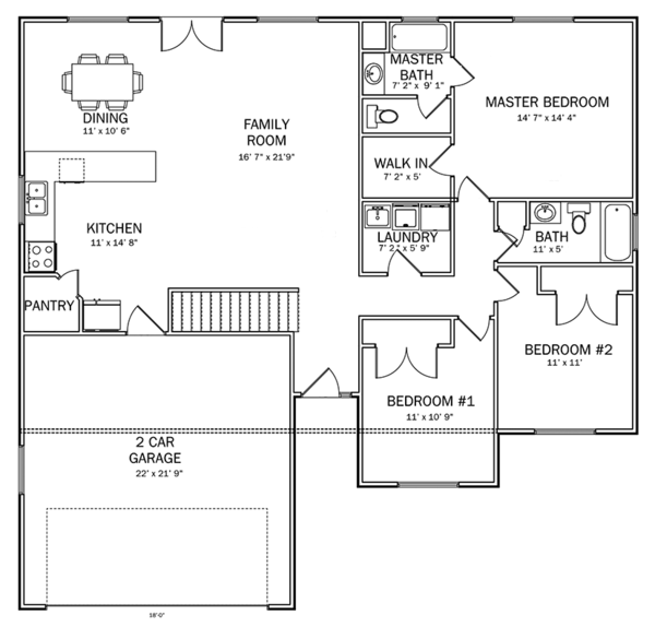 Ranch Floor Plan - Main Floor Plan Plan #1060-14