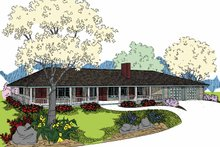 Ranch Exterior - Front Elevation Plan #60-1005