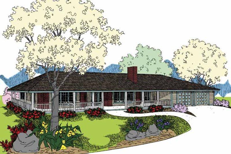 Ranch Exterior - Front Elevation Plan #60-1005 - Houseplans.com