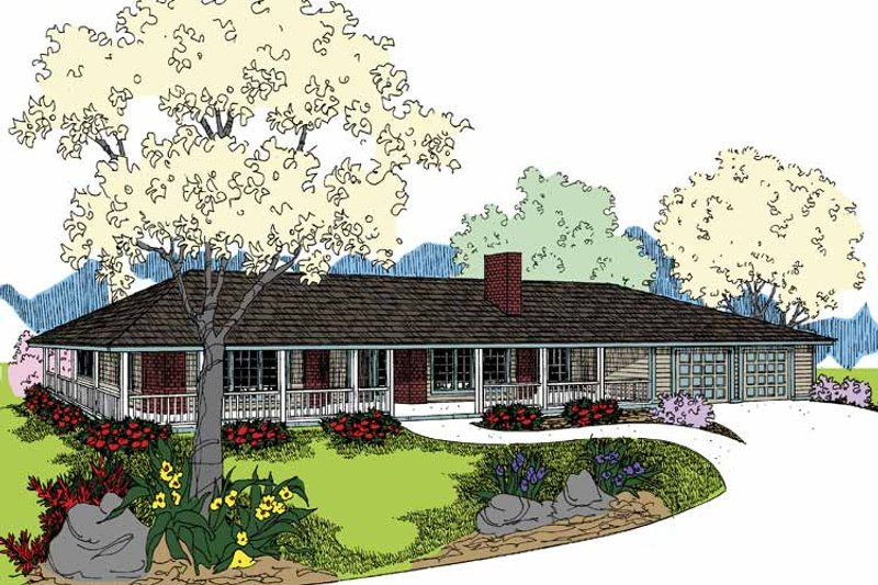 Architectural House Design - Ranch Exterior - Front Elevation Plan #60-1005